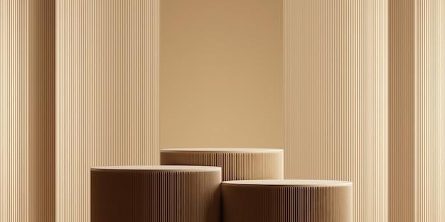 Minimaal abstract background.podium concept voor productpresentatie op bruine kleur background.3d rendering illustration