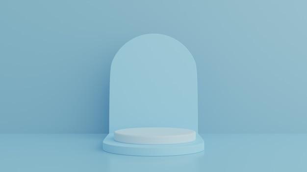 Minimaal cilinderpodium op blauwe achtergrond