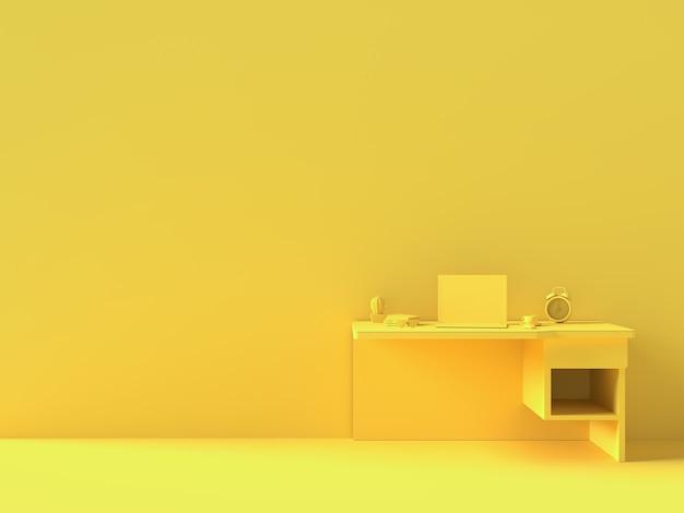 Minimaal concept, laptop op tafel bureau gele kleur