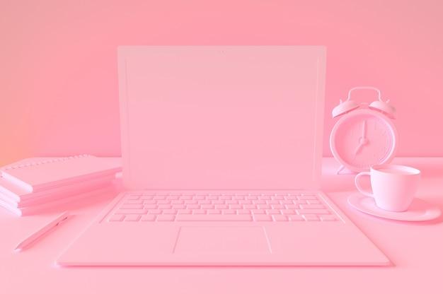 Minimaal concept, laptop op tafel bureau roze pastel kleur