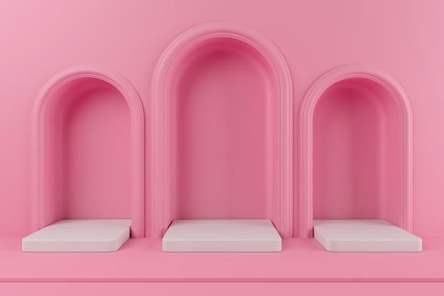 Minimaal concept roze kleur podium en witte kleur platform voor product. 3d-rendering.
