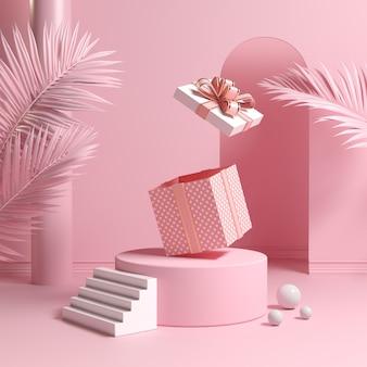 Minimaal conceptpodium en lege roze geschenkdoos stuiteren open met bladeren palm 3d render