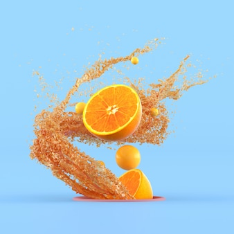 Minimaal conceptueel idee van gesneden sinaasappels en kleine gele bol die uit gatrand drijft met plonsjus d'orange op blauwe muur. 3d-weergave.