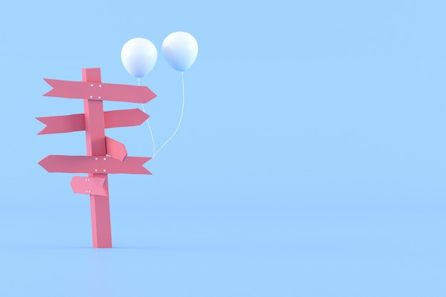 Minimaal conceptueel idee van roze wegwijzer en witte ballonnen op blauwe achtergrond. 3d-weergave.
