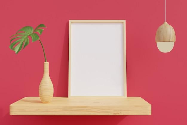 Minimaal frame op houten plank met planten in kamer met roze muur. 3d-weergave.
