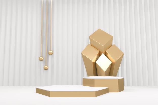 Minimaal gouden podium met gouden rand voor product op witte achtergrond. 3d-weergave