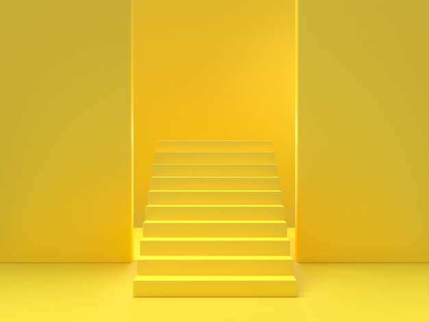 Minimaal idee concept. gele trap achtergrond, 3d render.