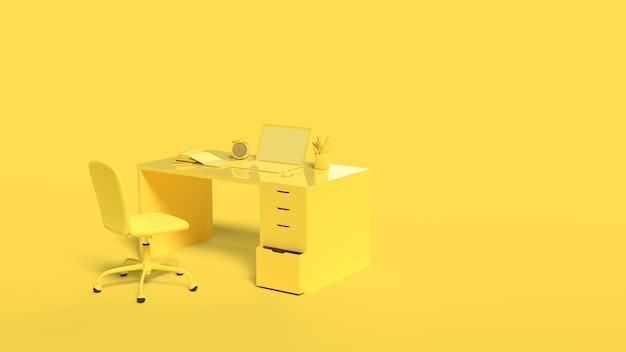 Minimaal idee concept. laptop mock-up gele achtergrond
