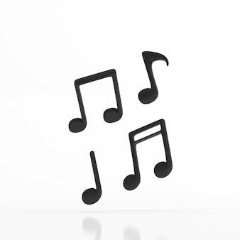 Minimaal illustreren van zwarte muzieknoot die op witte vloer drijft