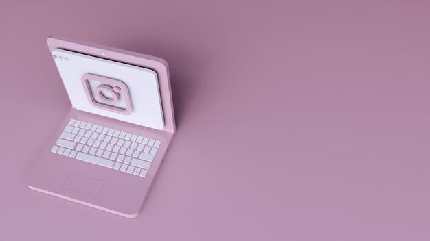 Minimaal instagram logo applicatie sjabloonontwerp eenvoudig op laptop in 3d-vorm. 3d render