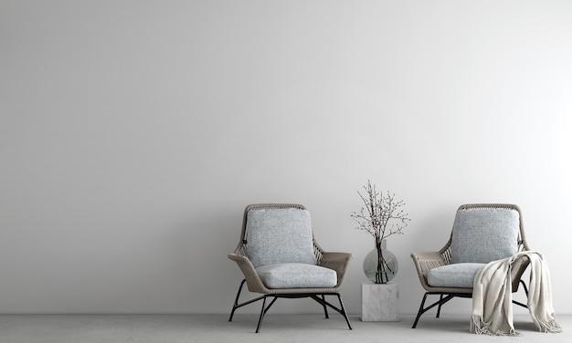 Minimaal interieur en witte woonkamer en lege betonnen wand