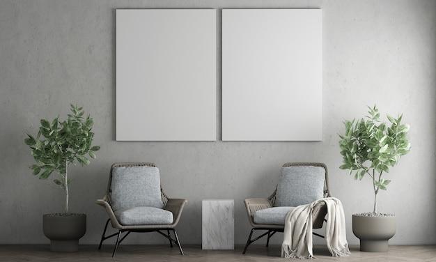 Minimaal interieur en woonkamer en leeg canvas frame op de betonnen muur