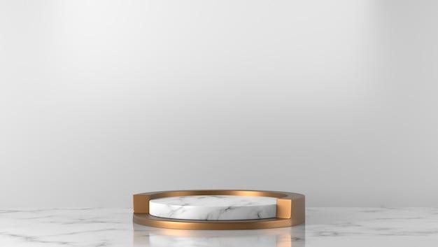 Minimaal luxe wit marmeren cilinderpodium op witte achtergrond