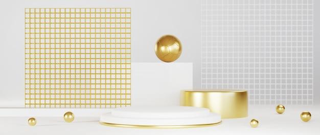 Minimaal luxe wit ontwerp cilinderdoospodium op witte betonnen muurachtergrond. toon scène podiumplatform showcase, product, presentatie, cosmetica. 3d render