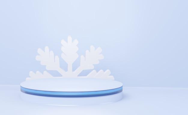 Minimaal nieuwjaarspodium in blauwe tinten. samenvatting, 3d de winter geeft terug.