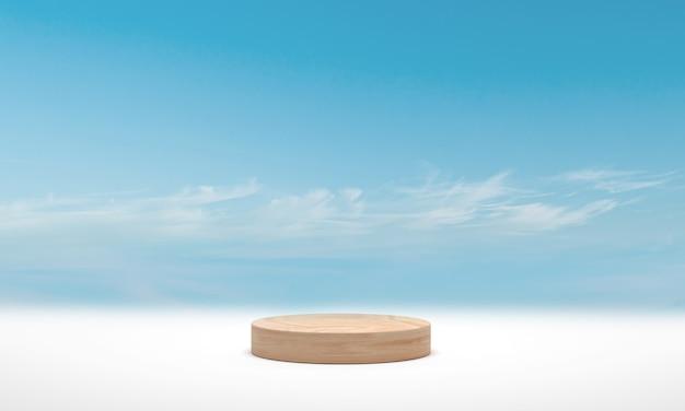 Minimaal podium houten cilinderpodium over blauwe hemelwolk