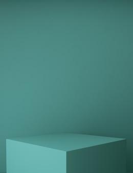 Minimaal podium met groene achtergrond voor product
