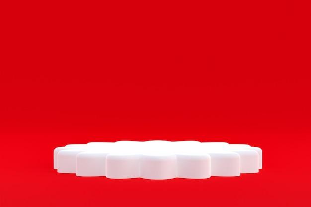 Minimaal podium op rode achtergrond voor cosmetische productpresentatie