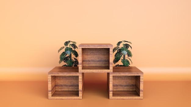 Minimaal podium van de luxe bruin fijn houten kist en groene bladeren op pastelkleurachtergrond