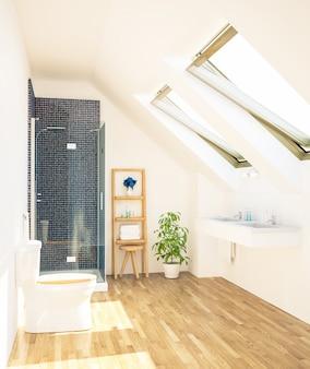 Minimaal schone badkamer op zolder