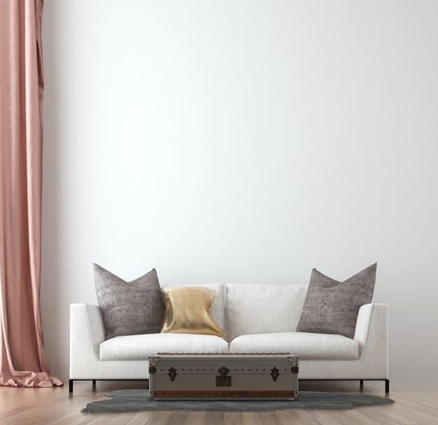Minimaal woonkamer interieur en witte muur textuur