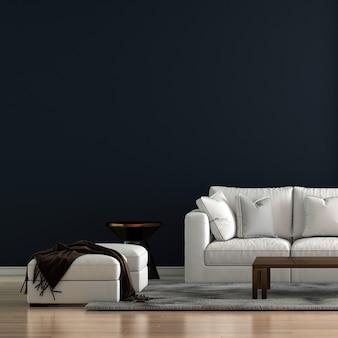 Minimaal woonkamerinterieur en witte bank en blauwe patroonmuurachtergrond