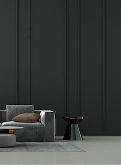 Minimaal woonkamerinterieur en zwarte muurachtergrond