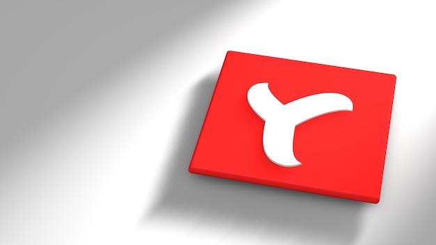 Minimaal yandex-logo, 3d-weergave