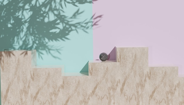 Minimaal zicht op marmeren abstracte achtergrond met bladschaduw premium foto