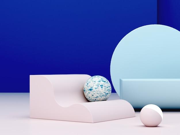 Minimale 3d-scène met podium en abstracte achtergrond in blauwe kleuren.