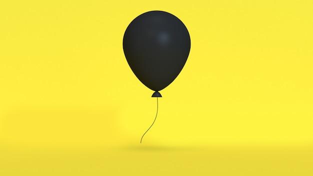 Minimale abstracte 3d zwarte ballon links ruimte gele achtergrond gele scène 3d-rendering