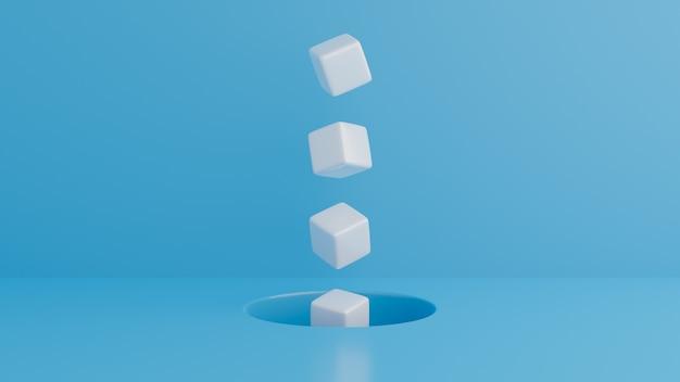 Minimale abstracte achtergrond. kubussen op blauwe achtergrond. witte blokjes die uit gaten zweven.