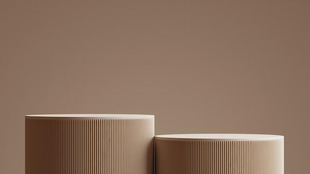 Minimale abstracte achtergrond podium en bruine achtergrond voor productpresentatie. 3d-rendering illustratie.