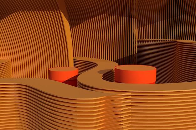 Minimale abstracte achtergrond voor productpresentatie. bruine cirkelvormige geometrie vorm. podium mock ap voor produc precentation 3d-rendering illustratie.