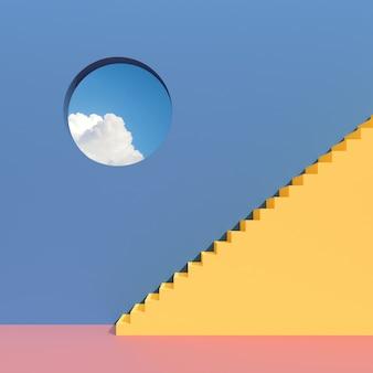 Minimale abstracte bouwruimte met ronde raam en trap op blauwe hemelachtergrond, architectonische details met schaduw en schaduw op kleur oppervlak. 3d-weergave.