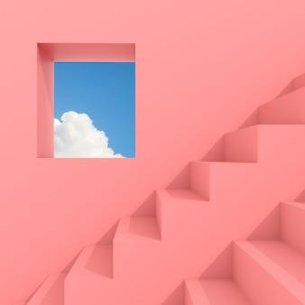 Minimale abstracte bouwruimte met vierkant raam en trap op blauwe hemel, architectonisch ontwerp met schaduw en schaduw op roze oppervlak. 3d-weergave.