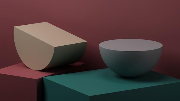Minimale abstracte geometrische achtergrond voor productpresentatie. 3d-rendering illustratie.