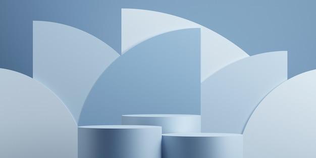 Minimale abstracte geometrische podium blauwe achtergrond voor productpresentatie. 3d-rendering illustratie.