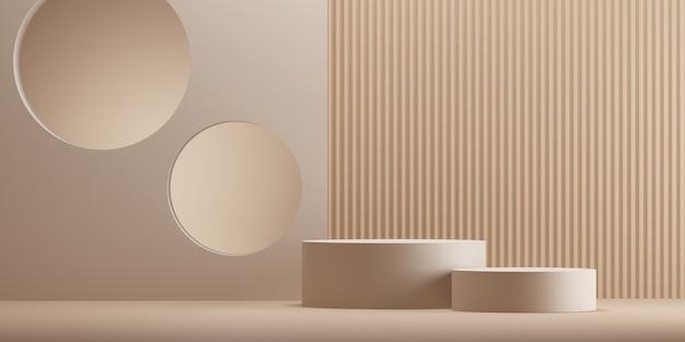 Minimale abstracte geometrische podium bruine achtergrond voor productpresentatie. 3d-rendering illustratie.