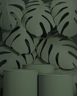 Minimale abstracte geometrische podium en natuur cosmetische achtergrond. voor branding en productpresentatie. 3d-renderingillustratie.