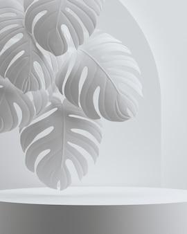 Minimale abstracte geometrische podium en natuur cosmetische witte achtergrond. voor branding en productpresentatie. 3d-renderingillustratie.