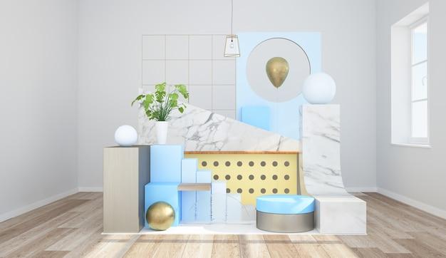 Minimale abstracte interieur set 3d-rendering