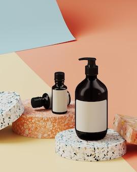 Minimale achtergrond voor branding en productpresentatie. cosmetische fles op kleurrijke terrazzo op crème, naakt en blauwe kleur papier roll achtergrond. 3d-rendering illustratie.