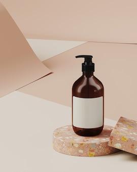 Minimale achtergrond voor branding en productpresentatie. cosmetische fles op terrazzo podium, op crème kleur papier roll achtergrond. 3d-rendering illustratie.