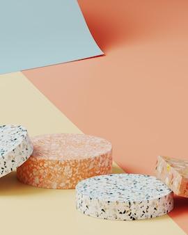 Minimale achtergrond voor branding en productpresentatie. kleurrijk terrazzo op crème, naakt en blauwe kleur papier roll achtergrond. 3d-rendering illustratie.
