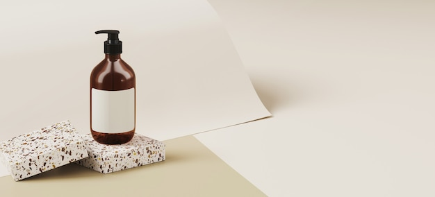 Minimale achtergrond voor branding en productpresentatie. kosmetische fles op terrazzopodium, op taupekleurendocument broodjesachtergrond. 3d-rendering illustratie.