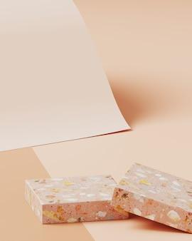 Minimale achtergrond voor branding en productpresentatie. terrazzo op naakt kleurenpapierrolachtergrond. 3d-rendering illustratie.