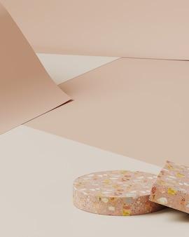 Minimale achtergrond voor productpresentatie. cosmetische fles op terrazzo podium, op crème kleur papier roll achtergrond. 3d-rendering illustratie.