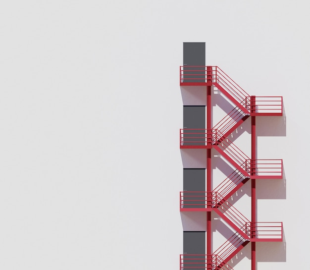 Minimale architectuur die witte muur rode treden bouwt