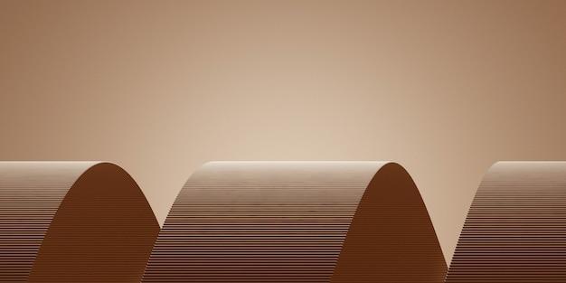 Minimale background.podium en bruine achtergrond voor productpresentatie. 3d-rendering illustratie.
